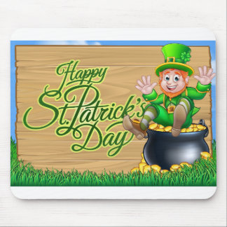 St Patricks Day Leprechaun and Pot of Gold Sign Mouse Pad