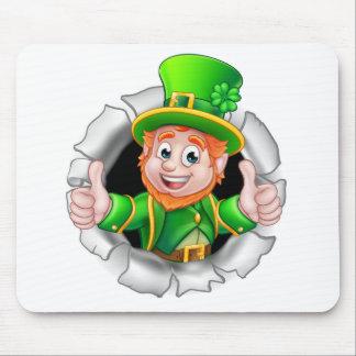 St Patricks Day Leprechaun Breaking Background Mouse Pad