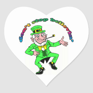 St. Patrick's Day Leprechaun Don't Stop Believing Heart Sticker