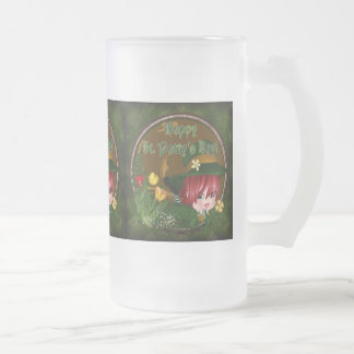 St. Patrick's Day Leprechaun Frosted Glass Beer Mug