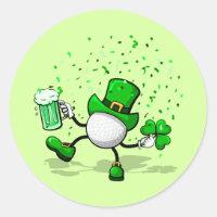 St. Patrick's Day Leprechaun Golf Classic Round Sticker