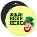 St. Patrick's Day Leprechaun Green Beer Sign Pin