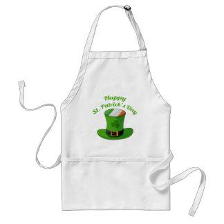 St. Patrick's Day Leprechaun Hat & Shamrock Clover Adult Apron