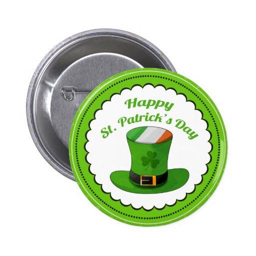 St. Patrick's Day Leprechaun Hat & Shamrock Clover Pinback Button