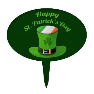St. Patrick's Day Leprechaun Hat & Shamrock Clover Cake Topper