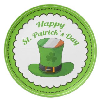 St. Patrick's Day Leprechaun Hat & Shamrock Clover Plates