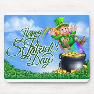 St Patricks Day Leprechaun Pot of Gold End Rainbow Mouse Pad