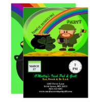 St Patrick's Day Leprechaun, Pot of Gold, Shamrock Invitation