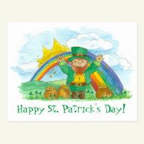 St. Patrick's Day Leprechaun Rainbow Pot Of Gold Postcard