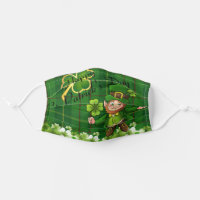 St. Patrick's Day Leprechaun Shamrocks Tartan Adult Cloth Face Mask