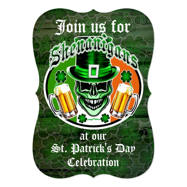 St. Patrick's Day Leprechaun Skull: Shenanigans 5x7 Paper Invitation Card