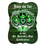 """St. Patrick's Day Leprechaun Skulls: Shenanigans 5"""" X 7"""" Invitation Card"""