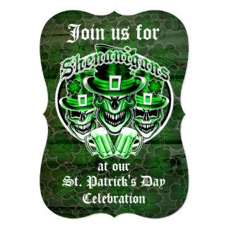St. Patrick's Day Leprechaun Skulls: Shenanigans 5x7 Paper Invitation Card