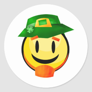 St. Patrick's Day Leprechaun Smiley Classic Round Sticker