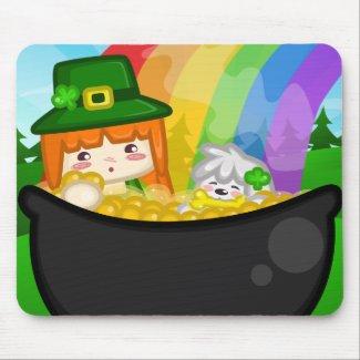 St. Patrick's Day: Libbi and Suki Mousepad mousepad