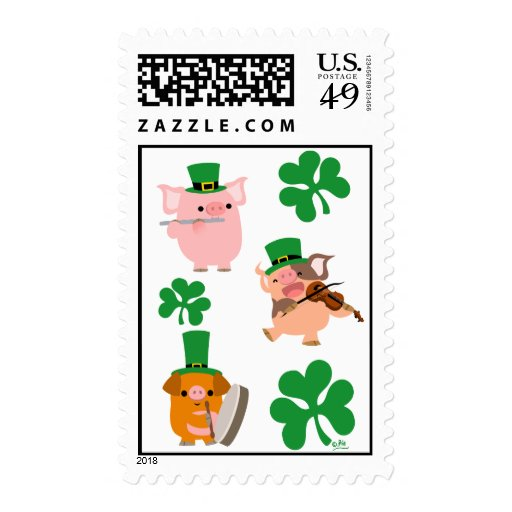 St Patrick's Day little musicians postage stamp