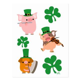St Patrick's Day little musicians postcard