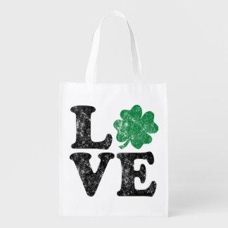 St Patrick's Day LOVE Shamrock Irish Grocery Bag