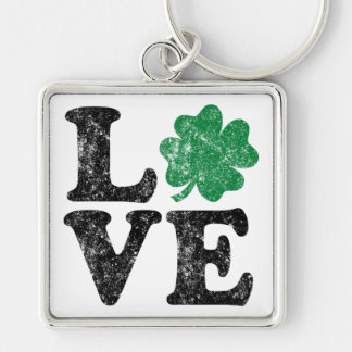 St Patrick's Day LOVE Shamrock Irish Keychain
