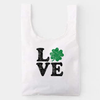 St Patrick's Day LOVE Shamrock Irish Reusable Bag