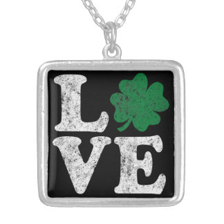 St Patrick's Day LOVE Shamrock Irish Silver Plated Necklace