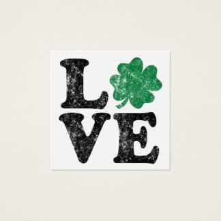 St Patrick's Day LOVE Shamrock Irish Square Business Card