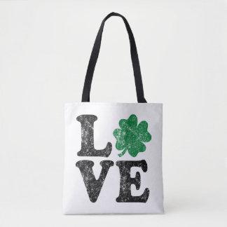 St Patrick's Day LOVE Shamrock Irish Tote Bag