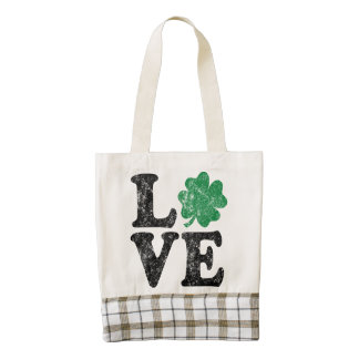 St Patrick's Day LOVE Shamrock Irish Zazzle HEART Tote Bag