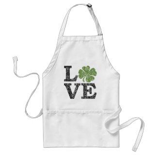 St Patricks Day LOVE with shamrock Adult Apron