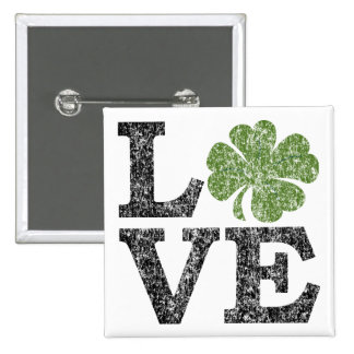St Patricks Day LOVE with shamrock 2 Inch Square Button
