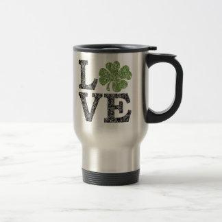 St Patricks Day LOVE with shamrock Mugs