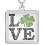 St Patricks Day LOVE with shamrock Square Pendant Necklace