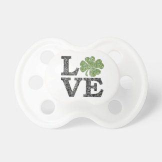 St Patricks Day LOVE with shamrock Pacifier