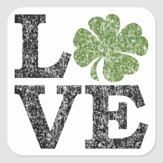 St Patricks Day LOVE with shamrock Square Sticker