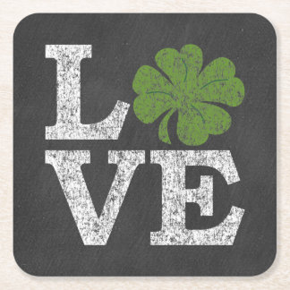 St Patricks Day LOVE with shamrock Square Paper Coaster