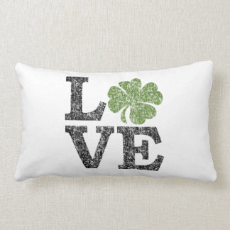 St Patricks Day LOVE with shamrock Throw Pillows