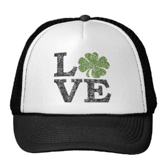 St Patricks Day LOVE with shamrock Trucker Hat