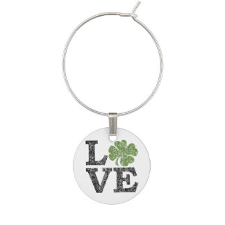 St Patricks Day LOVE with shamrock Wine Charms