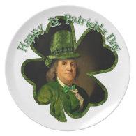 St Patrick's Day Lucky Ben Franklin Shamrock Dinner Plate
