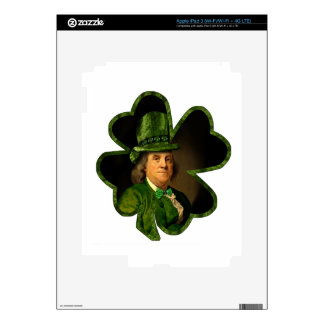 St Patrick's Day - Lucky Ben Franklin Shamrock Decal For iPad 3