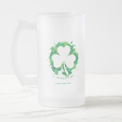 St. Patrick's Day. Lucky Clover White Silhouette. Frosted Glass Beer Mug