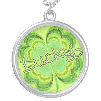 St Patricks Day Lucky Irish Clover Round Pendant Necklace
