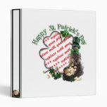 St Patrick's Day Lucky Meerkat Shamrock Frame Vinyl Binders
