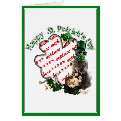 St Patrick's Day Lucky Meerkat Shamrock Frame Cards