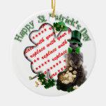 St Patrick's Day Lucky Meerkat Shamrock Frame Christmas Tree Ornament
