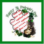 St Patrick's Day Lucky Meerkat Shamrock Frame Photo Sculptures