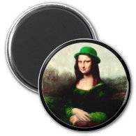 St Patrick's Day - Lucky Mona Lisa 2 Inch Round Magnet