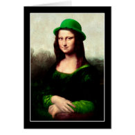 St Patrick's Day - Lucky Mona Lisa Greeting Card