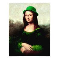 St Patrick's Day - Lucky Mona Lisa 4.25x5.5 Paper Invitation Card