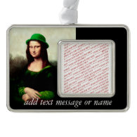 St Patrick's Day - Lucky Mona Lisa Silver Plated Framed Ornament